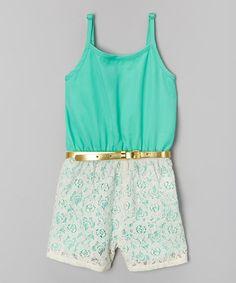 Another great find on #zulily! Mint Crochet Belted Romper - Girls #zulilyfinds