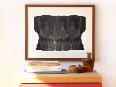 Heads Collage, Black Contemporary Fine Art Print, Figurative Artwork, 12 x16 Abstract Modern Art