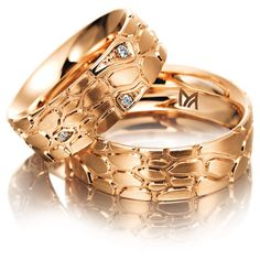 Rose gold wedding bands by Meister