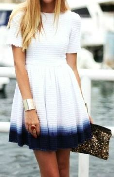 Dip-dyed white and blue summer dress