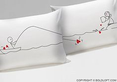 "BOLDLOFT® ""Catch My Heart"" Couple Pillowcases-Long Distance Relationship Gifts,Cute Couple Gifts,Romantic Anniversary Gifts,Valentine's Day Gifts,Gifts for Him,Gifts for Her - valentines day swag"