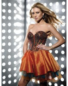 Champagne A-line sweetheart tiered short prom dress with sequins  US$168.00