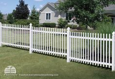 Sloped yard? Stepped picket fencing can accommodate a grade and looks good doing it. Low maintenance vinyl Freedom fencing built by Barrette and manufactured exclusively for Lowe's.
