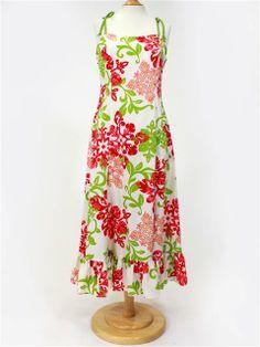 Good Times 322S Spaghetti Strap Frill Dress [Hawaiian Quilt] - Long Dresses - Hawaiian Dresses | AlohaOutlet SelectShop