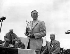 Ben Hogan holds his trophy after winning the British Open
