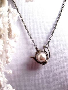 White Satin Pearl Teapot Necklace by FashionCrashJewelry on Etsy