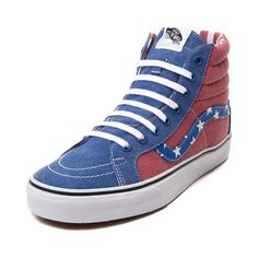Shop for Vans Sk8 Hi Van Doren Skate Shoe in Blue Flag at Journeys Shoes. Shop today for the hottest brands in mens shoes and womens shoes at Journeys.com.This Van Doren edition Vans Sk8 Hi features an  American flag themed upper with faded red and blue, star print side stripe. and striped contrast lining. Durable synthetic upper with signature high padded collar, lace closure, and vulcanized rubber sole with waffle tread. Skate proud, and skate freely. Available only online at Journeys.com…