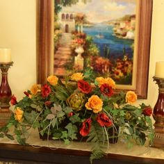 "Silk Ledge Planter with Red and Gold Roses and Ivy AR327 - Wonderful for bookcase, armoires, fireplace or any special place to add that special touch of color. Created with roses, ivy, artichoke and grass. This item can be customized additional sizes and colors. 36"" L x 15"" H"