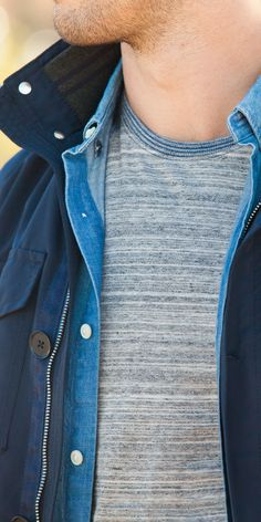 Mix and match lightweight layers over a classic Banana Republic heather grey tee.