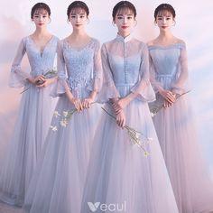 79574ba3c5 Eleganckie Szary Przezroczyste Sukienki Dla Druhen 2018 Princessa Długie  Rękawy Aplikacje Z Koronki Długie Wzburzyć Bez Pleców Sukienki Na Wesele
