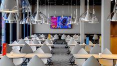 prizeotel lobby interio karim rashid - Google Search Office Interior Design, Office Interiors, Karim Rashid, Ceiling Lights, Google Search, Home Decor, Decoration Home, Room Decor, Outdoor Ceiling Lights