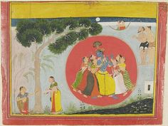 Krishna Dancing with the Gopis. From a Gita Govinda [Song of the Cowherd] manuscript, Opaque watercolor and gold on paper, Rajasthan, Mewar, ca. 1680