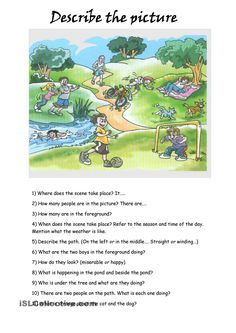 Describing a Picture worksheet - Free ESL printable worksheets made by teachers English Teaching Materials, Learning English For Kids, Teaching English Grammar, English Worksheets For Kids, Kids English, English Writing Skills, English Reading, English Activities, Grammar Lessons
