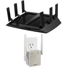 NETGEAR Nighthawk X6 AC3200 Tri-Band Gigabit Wi-Fi Router (R8000) & Netgear AC1200 WiFi Range Extender - Essentials Edition (EX6120-100NAS) Bundle -  - http://ehowsuperstore.com/bestbrandsales/electronics/netgear-nighthawk-x6-ac3200-tri-band-gigabit-wi-fi-router-r8000-netgear-ac1200-wifi-range-extender-essentials-edition-ex6120-100nas-bundle