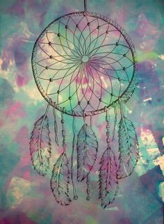 Tie-Dye Dream Catcher Drawing PRINT. $7.00, via Etsy.