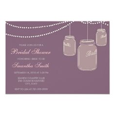 Black Mason Jar Bridal Shower Custom Invitations online after you search a lot for where to buyDealsHere a great deal. Wedding Shower Invitations, Save The Date Invitations, Custom Invitations, Invitations Online, Invites, Purple Mason Jars, Cowboy Chic, Thing 1, Purple Wedding