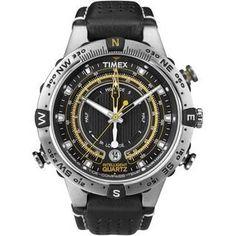 Timex Intelligent Quart TideTempCompass. Cette montre pour homme de la marque Timex est équipée d'une boussole, d'un indicateur de marée et d'un thermomètre. En acier elle est étanche jusqu'à 100 mètres.