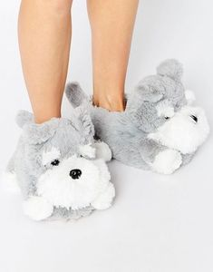 New Look Novelty Dog Slippers at ASOS. Bunny Slippers, Winter Slippers, Cute Slippers, Fluffy Shoes, Shoe Boots, Shoes Heels, Bedroom Slippers, Womens Slippers, Designer Shoes