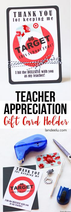 Teacher Appreciation Gift Idea: Target Gift Card Holder - Teacher Appreciation Gift Idea… every teacher LOVES Target! Cute way to give a gift card. Target Gifts, Best Teacher Gifts, Teacher Treats, Teacher Stuff, Voucher, Presents For Teachers, Teacher Appreciation Week, Teacher Awards, Appreciation Quotes