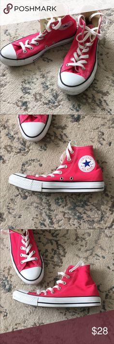 new style 318ad 949bc Converse Pink hi top Chuck Taylor s Bright pink Converse hi top chuck  Taylor s! Unisex- Size men s 6 women s In great condition!the canvas is  spotless!