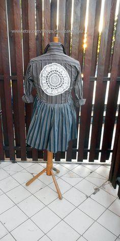 1X UpCycled Babydoll Tunic Dress Shirt Dresses UpCycled