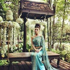 Culture is a big thing when it comes to events, ceremonies, and gatherings throughout my lifetime. This is a modern Thai wedding dress made to fit the elegance and modernity of the natural Thai women. Cambodian Wedding Dress, Thai Wedding Dress, Khmer Wedding, Blue Wedding Dresses, Designer Wedding Dresses, Wedding Attire, Laos Wedding, Thai Traditional Dress, Traditional Wedding Dresses