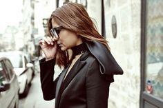 Christine Centenera:Celine sunglasses, Dior neckpiece, Balmain blazer, Prada skirt and pants, Celine shoes - Street Style Fall 2013 - Paris Fashion Week
