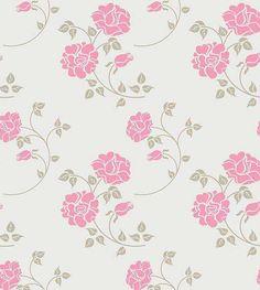 Papel de parede floral em tons cinza e rosa - Rose 33