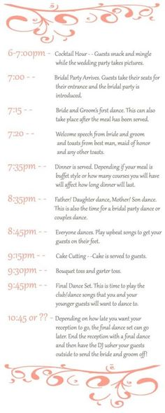 Who doesn't love a cool infographic to break down the specifics of a perfect wedding reception timeline? If you're still not sure how you want the wedding day to unfold, see what other experts are saying and check out a few examples below to create the perfect wedding  timeline for your special day. - via My Wedding Reception Ideas