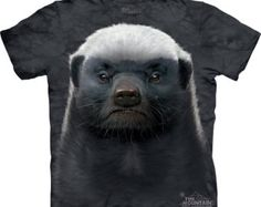 Honey Badger Face T-shirt Great Christmas Gift Big animal face Tie Dye washed Shirts S-3XL