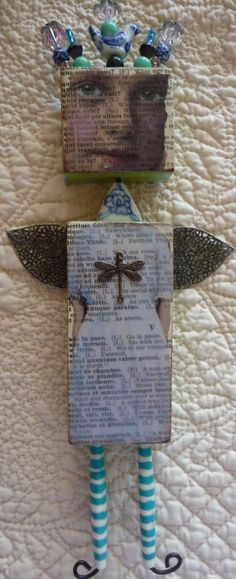 """~Love it!  There is no website attached.  From another pinner:  """"Dragonfly Dreams"""" Altered Art Doll by M.J.Chadbourne Desert Dream Studios"""