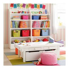 Kids Wooden Storage Open Top Bookcase & Craft Table