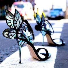 d867533d10f98d Black suede and fairy wing detail heels. Featuring an open toe