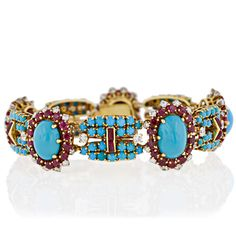 French Turqoise, Ruby and Diamond Bracelet