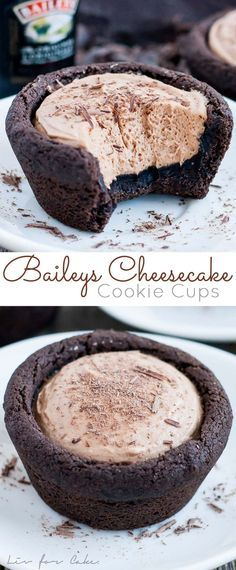 Chocolate cookie cups recipe via Liv for Cake - filled with a chocolate Baileys cheesecake. The perfect bite-sized indulgence! The BEST Bite Size Dessert Recipes - Mini, Individual, Yummy Treats, Perfectly Pretty for Your Baby and Bridal Showers, Birthday Mini Desserts, Bite Size Desserts, Brownie Desserts, Just Desserts, Delicious Desserts, Birthday Desserts, Plated Desserts, Desserts With Alcohol, Jewish Desserts