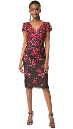 409421411635 Marchesa Notte Threadwork Embroidered Sheath Dress Cap Dress