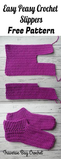 New Absolutely Free Crochet socks beginner Tips Easy peasy adult crochet slippers – crochet slipper pattern Crochet Gifts, Crochet Baby, Knit Crochet, Crochet Beanie, Crochet Stitches, Booties Crochet, Tunisian Crochet, Knitted Baby, Crochet Granny
