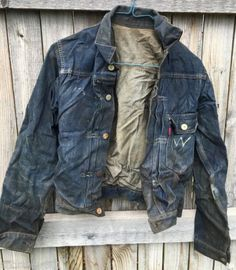 Vintage Levi'e Big E Denim Jacket Cinch Back 1940's? 1 Flap Pocket Original ~~
