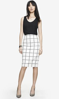 WINDOWPANE HIGH WAIST MIDI PENCIL SKIRT - I am a big fan of high waist pencil skirts! I like the pattern on this and the fact that I could pair it with my black tops or another solid color. I like the length as well - knee length is a must for me.