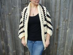 Black and Cream Granny Square Cocoon Shrug  by LazyHollowDesigns