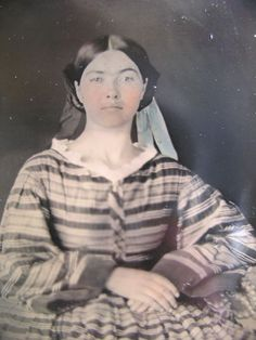 C1860 Tinted Tintype Beautiful Young Woman w Striped Dress Blue Ribbon | eBay
