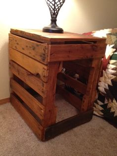 Pallet end table or nightstand. home