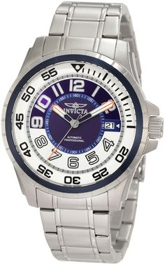 Invicta Men's 1832 Specialty Automatic Blue and White Dial Stainless Steel Watch *** Click on the image for additional details.