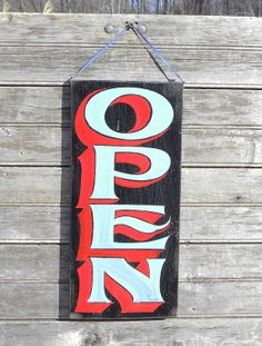 Open Sign, hand painted, faux vintage, wooden sign Z TO2