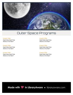 "We  can make your life easier when  you are promoting a series of programs... search flyer-event for ""space"". Then just fill in the content and go."