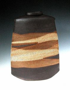 "Sandra Dolph - Brown Slab Pocket Vase - ceramic - 14"" x 11"""