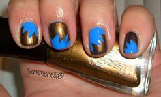 BAM, POW blue and gold manicure.  #nails #manicure