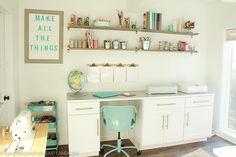 White & Aqua Craft Room Tour