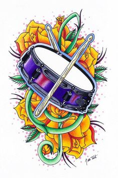 Snare drum and Treble Clef tattoo commission for Lucas. Music Drawings, Music Artwork, Music Tattoo Designs, Music Tattoos, Trommel Tattoo, Kids Drum Set, Drums Wallpaper, Treble Clef Tattoo, Drum Drawing