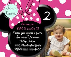 Minnie Mouse Clubhouse girls birthday invitation by Olivia Louise Shop on Etsy